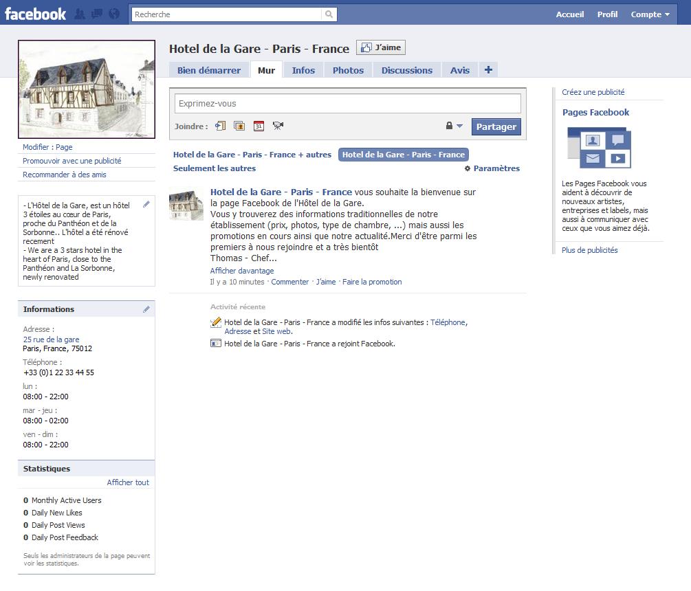 votre page hotel sur facebook