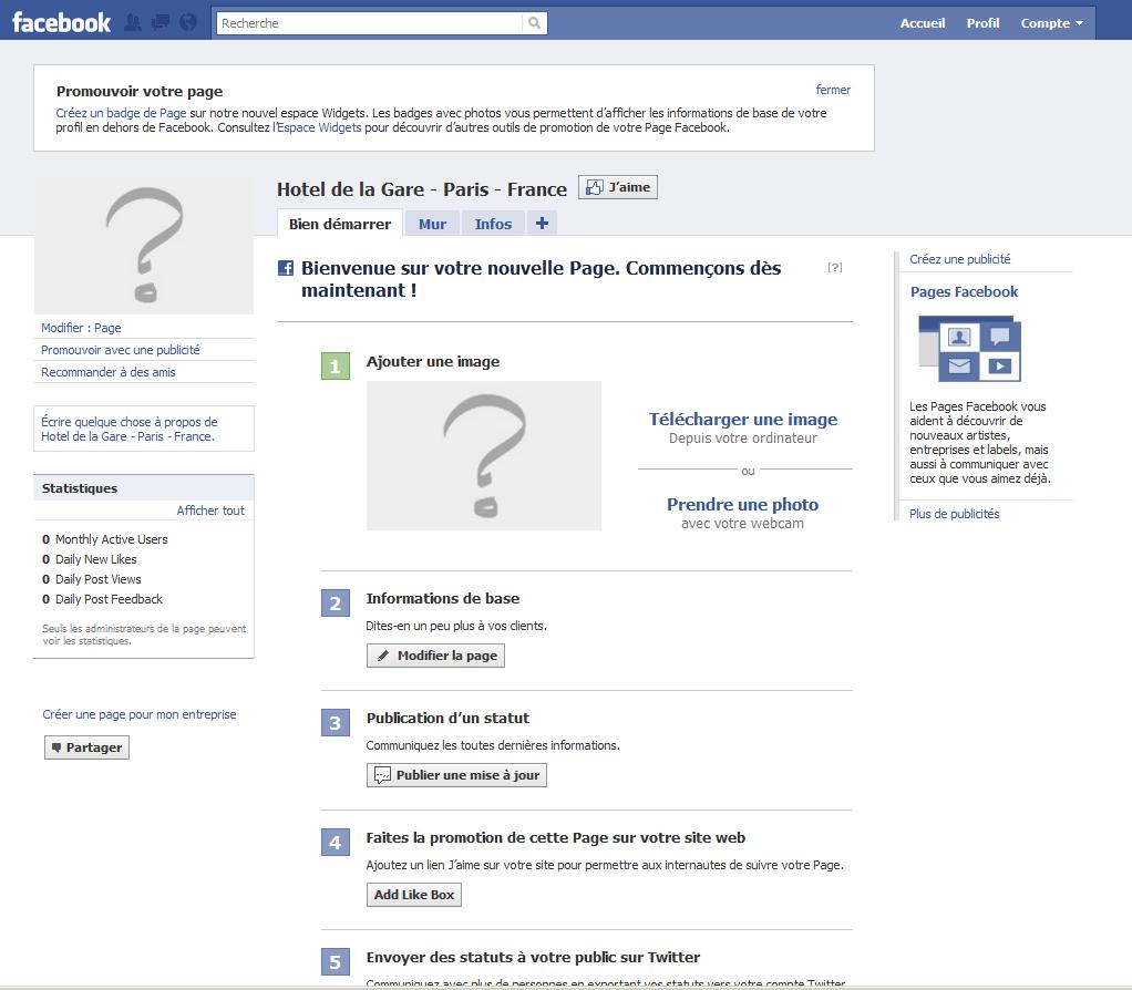 creation page fan facebook pour hebergeur