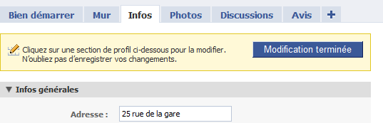 Valider les informations de la vreation de page facebook hotel