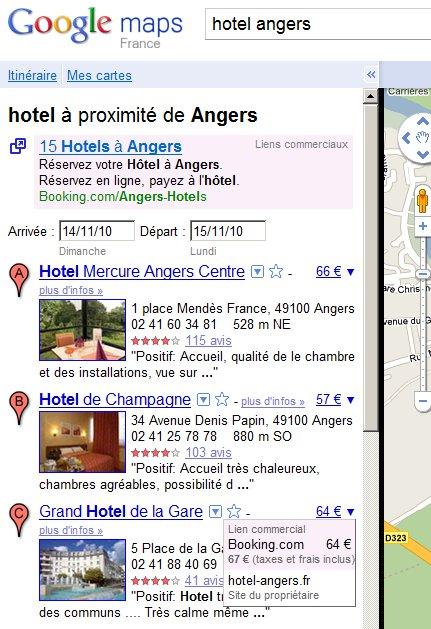 Les resultats Google Map pour un hôtel avec affichage du prix
