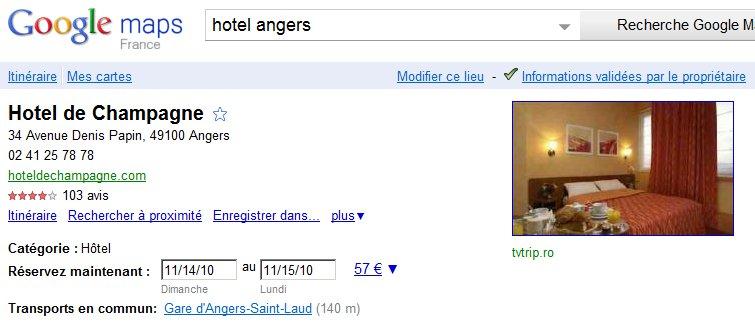 La fiche Google Places avec les dispo et prix