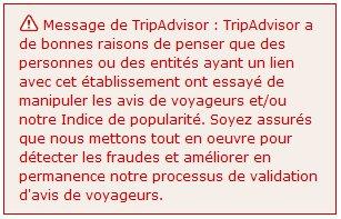 Tripadvisor avertit les internautes en cas de doutes sur la veracité des avis
