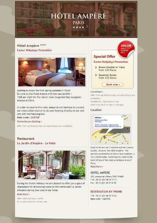Exemple de emailing réalisé avec Sellinity - webmarketing hotelier