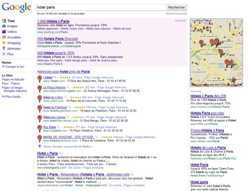 Une recherche web avec Google Map
