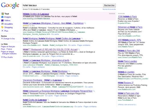 Une recherche Web sans Google Map
