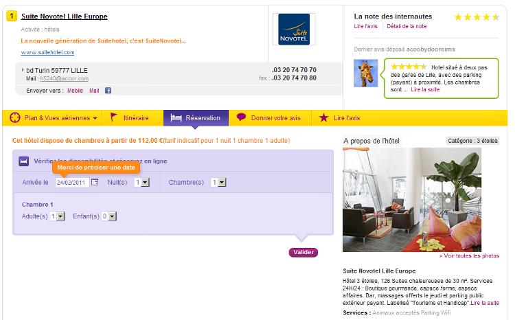 reserver un hotel depuis pages jaunes
