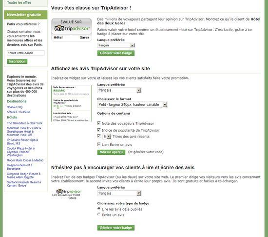 Choisissez le badge ou widget tripadvisor a integrer sur votre page hotel