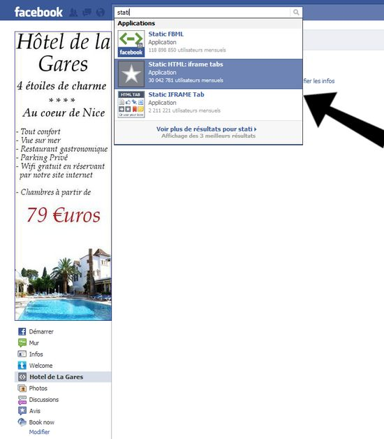 installez l'application static html iframe tabs pour facebook