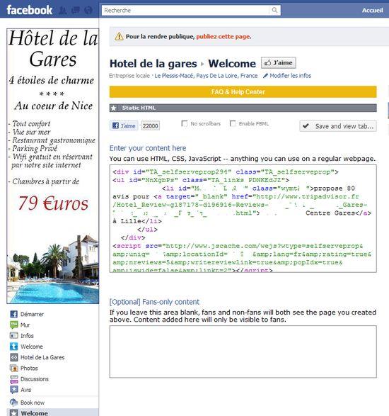 coller le code source de tripasdvisor dans l'onglet de la page facebook fan de votre hotel