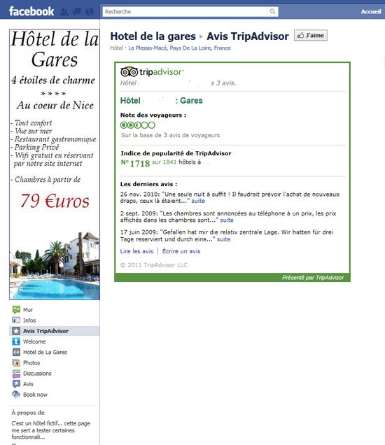 Affichage d'avis TripAdvisor sur la page fan facebook de votre hôtel: le resultat