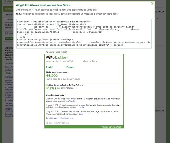 COde source du widget ou badge tripadvisor
