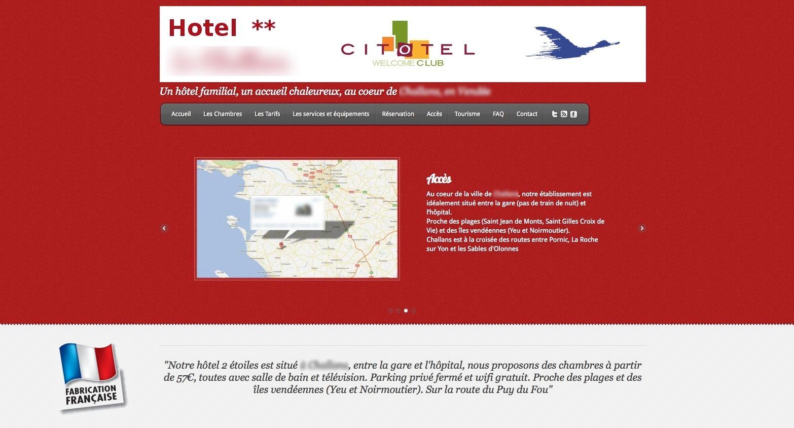 Argument commercial fabriqué en france sur le site d'un hôtel