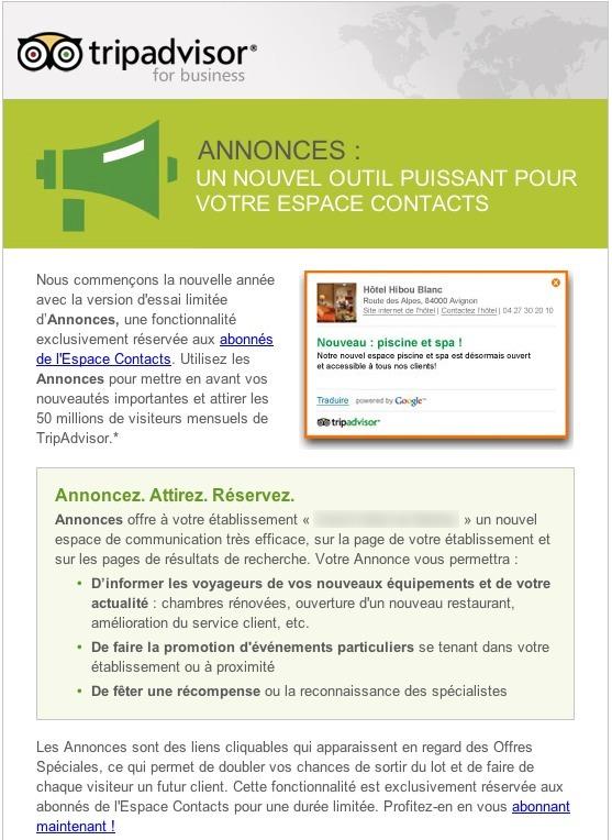 Nouveau service TripAdvisor: les annonces
