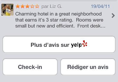 check-in et redaction d'avis sur iphone map