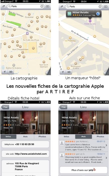 Nouvelles fiches hotel restaurant cartographie apple iphone