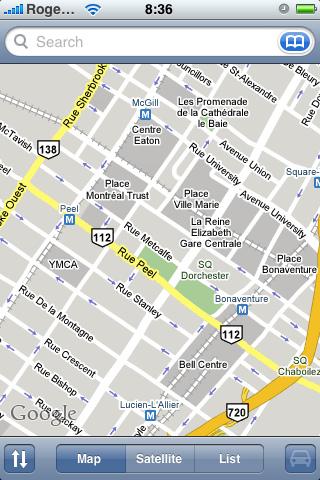 L'ancienne cartographie iphone de Google Map