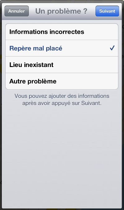 Modification (suggestion de modification) de fiche depuis la cartographie iphone