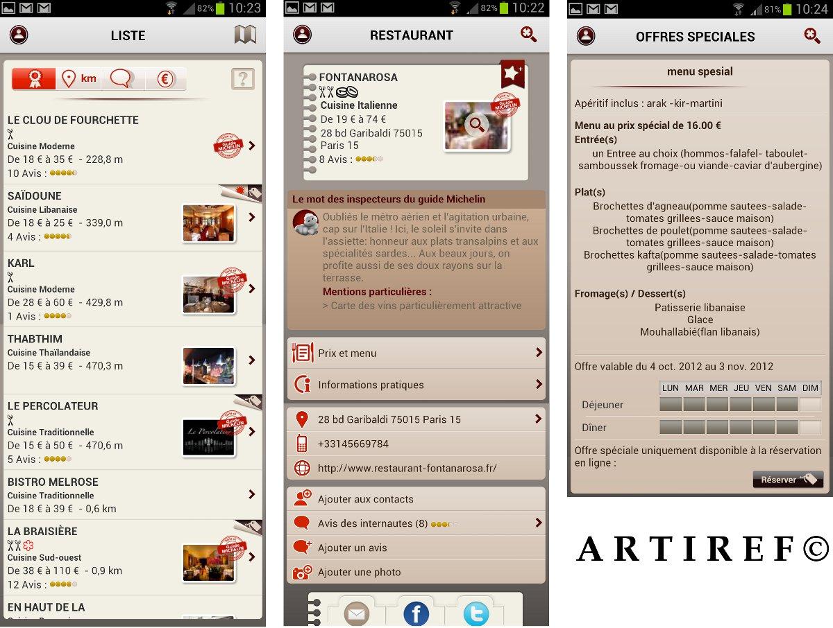 L'appli Michelin Restaurant pour smartphone