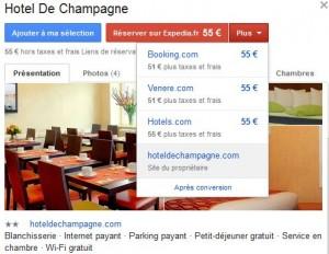 Prix dans Google hotel finder