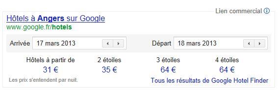 Google Hotel Finder est enfin là !
