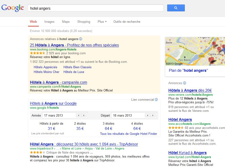 Le point sur google hotel finder artiref webmarketing for Recherche hotel sur carte
