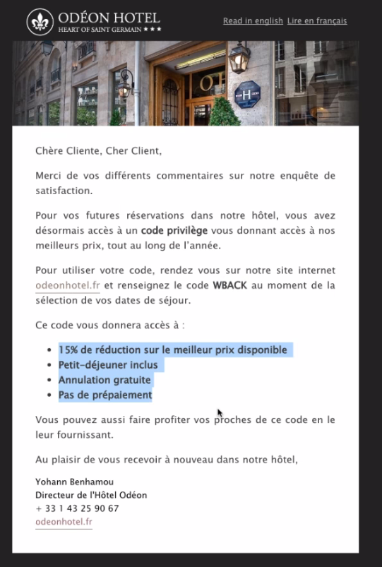 Email fidélisation post séjour