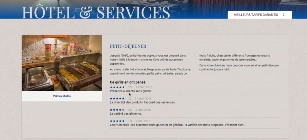 Intégration contextuelle des avis sur le site de l'hôtel