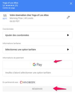 Réservez et payez sur Google directement