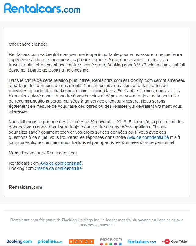 Email envoyé par Rentalcars